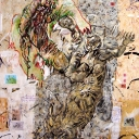 Les Ancêtres 146x97cm acrylique sur papier marouflé sur toile 2013