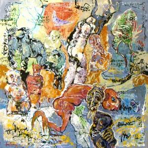 Guy Béraud-Rumeurs et Bêtise-mixte sur papier marouflé sur toile.80x80cm- 2019.
